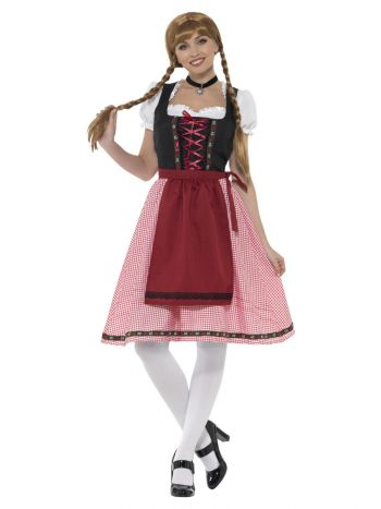 Bavarian Tavern Maid Costume, Red & Black