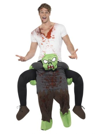 Piggyback Zombie Costume, Green & Grey