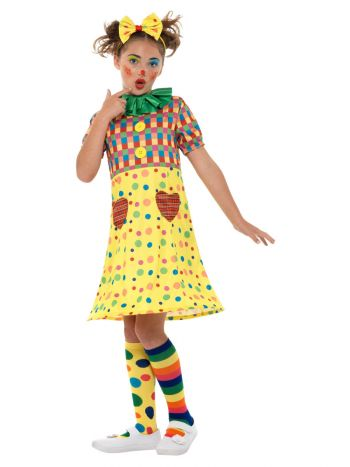 Girls Clown Costume, Multi-Coloured