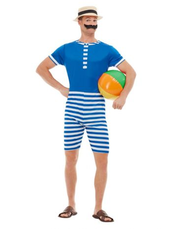20s Bathing Suit Costume, Blue & White