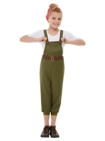 WW2 Little Land Girl Costume, Green