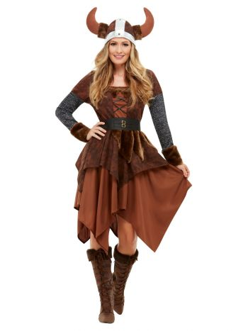 Viking Barbarian Queen Costume, Brown