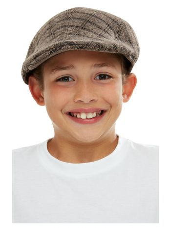 Kids Flat Cap, Brown & Black