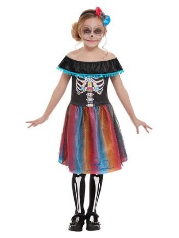 Day of The Dead Girl Costume, Multi-Coloured