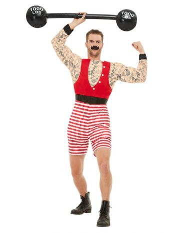 Deluxe Strongman Costume, Red & White