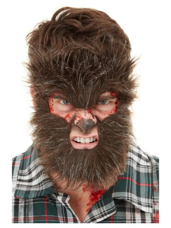 Smiffys Make-Up FX, Werewolf Face Fur, Brown