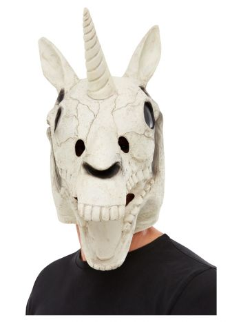 Unicorn Skull Latex Mask, White, White
