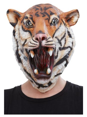 Tiger Latex Mask, Orange & Black