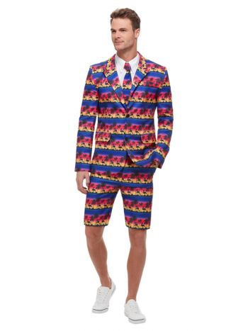 Sunset Flamingo Suit, Blue