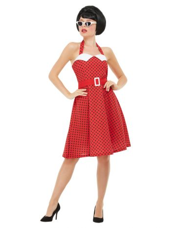 50s Rockabilly Pin Up Costume, Red
