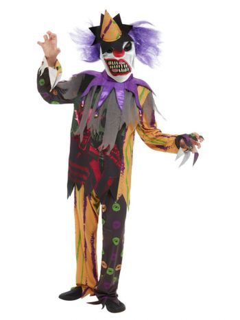 Scary Clown Costume, Multi-Coloured