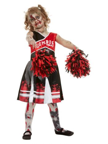 Zombie Cheerleader Costume, Red