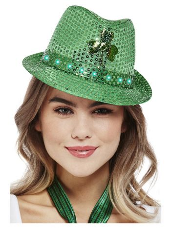 Paddy's Day Light Up Sequin Trilby Hat