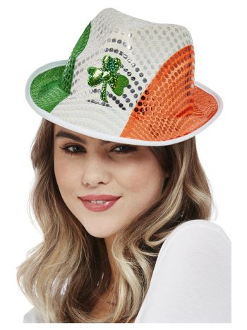 Paddy's Day Irish Flag Sequin Trilby Hat