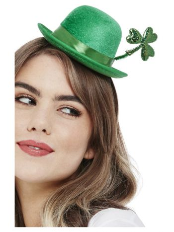 Deluxe Paddy's Day Mini Bowler Hat, Velour