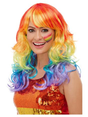 Rainbow Glam Wig, Multi-Coloured