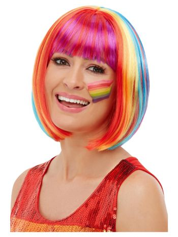 Rainbow Bob Wig, Multi-Coloured