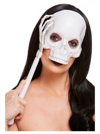 Handheld Skull Mask, White
