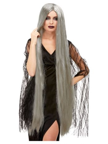 Witch Wig Extra Long, Grey