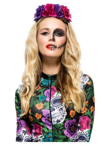 Day of the Dead Rose Headband, Multi-Coloured
