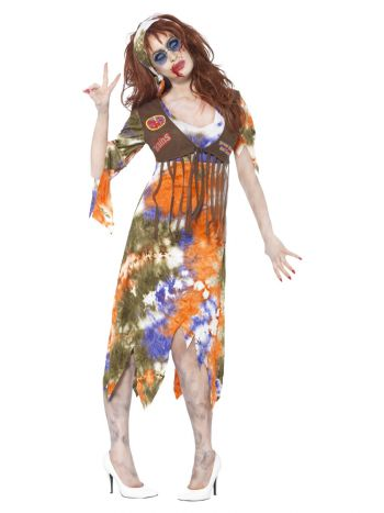 Zombie 60s Hippie Lady Costume, Multi-Coloured