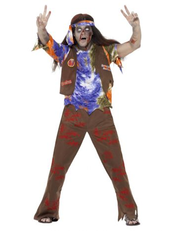 Zombie 60s Hippie Costume, Multi-Coloured