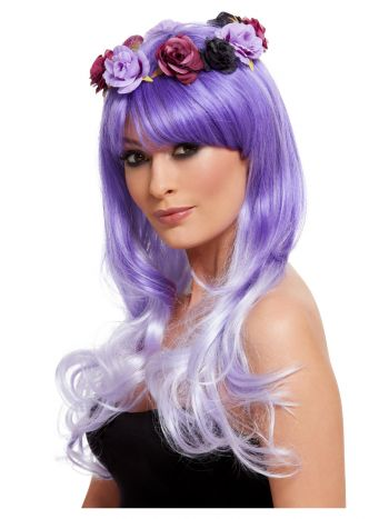 Day of the Dead Glam Wig, Purple