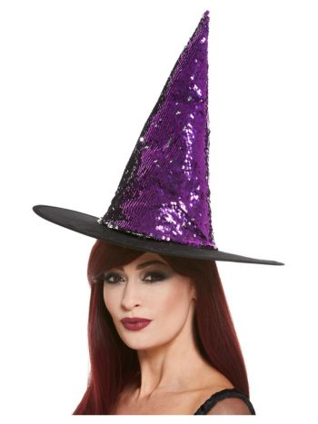 Reversible Sequin Witch Hat, Purple & Black