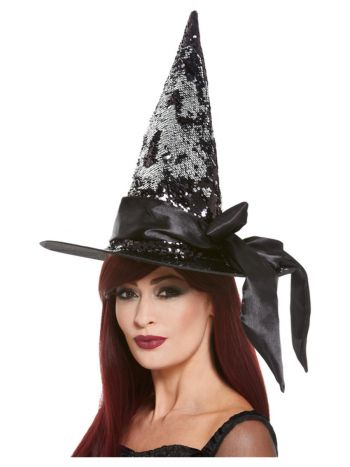 Deluxe Reversible Sequin Witch Hat, Black & Silver