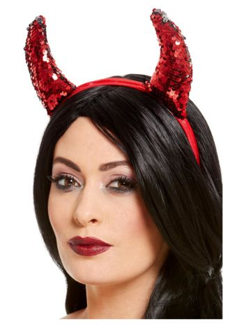 Reversible Sequin Devil Horns, Red
