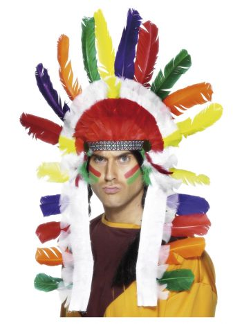 Native American Inspired Long Chief Headdress, Mul