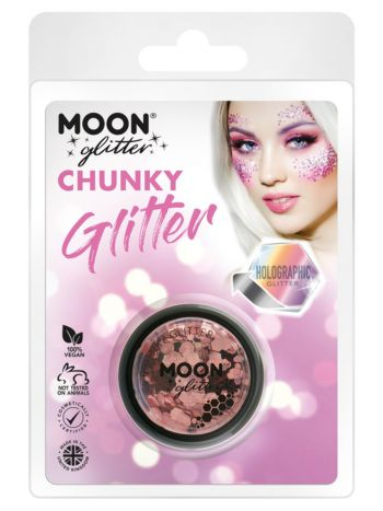 Moon Glitter Holographic Chunky Glitter, Rose Gold