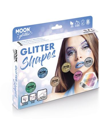 Moon Glitter Holographic Glitter Shapes, Assorted