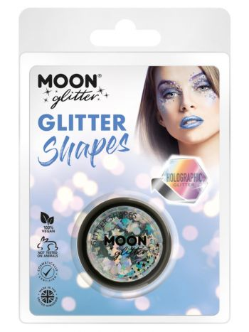 Moon Glitter Holographic Glitter Shapes, Silver