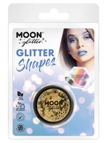 Moon Glitter Holographic Glitter Shapes, Gold
