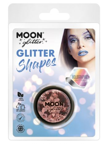 Moon Glitter Holographic Glitter Shapes, Rose Gold