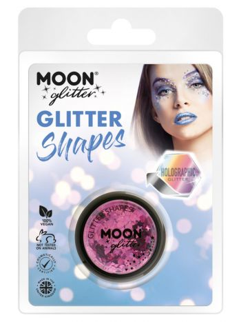 Moon Glitter Holographic Glitter Shapes, Pink