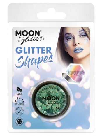 Moon Glitter Holographic Glitter Shapes, Green