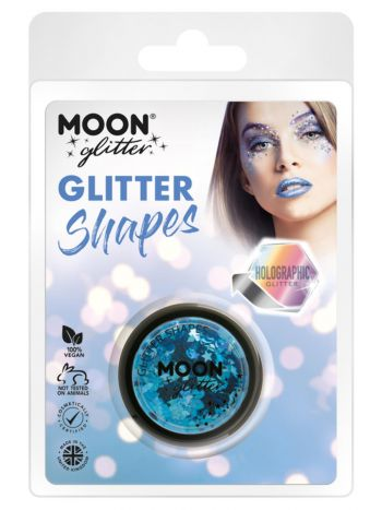 Moon Glitter Holographic Glitter Shapes, Blue