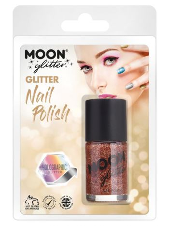 Moon Glitter Holographic Nail Polish, Rose Gold