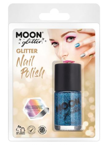 Moon Glitter Holographic Nail Polish, Blue