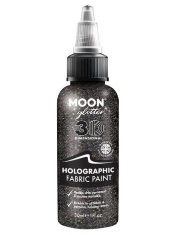 Moon Glitter Holographic Glitter Fabric Paint, Bla