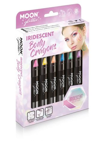 Moon Glitter Iridescent Body Crayons, Assorted