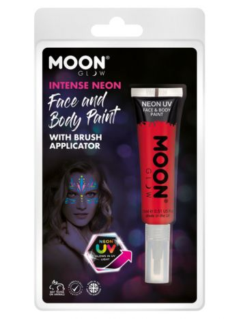 Moon Glow Intense Neon UV Face Paint, Red