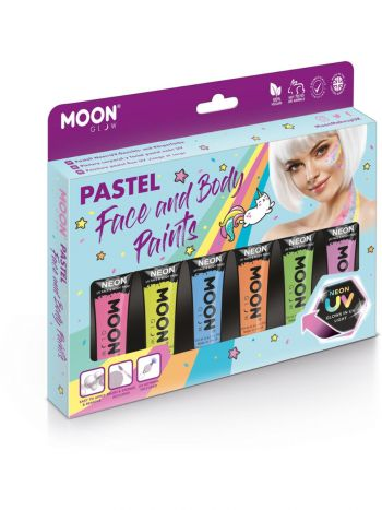 Moon Glow Pastel Neon UV Face Paint Boxset, Assort
