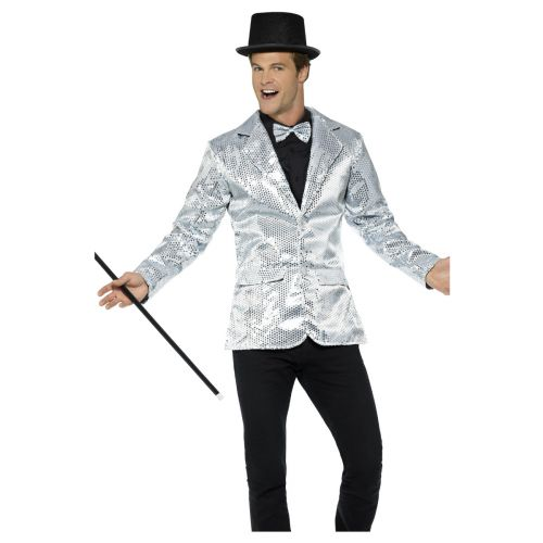 Sequin Jacket, Mens, Silver