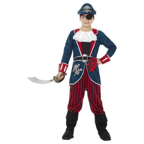 Deluxe Pirate Captain Costume, Blue & Red