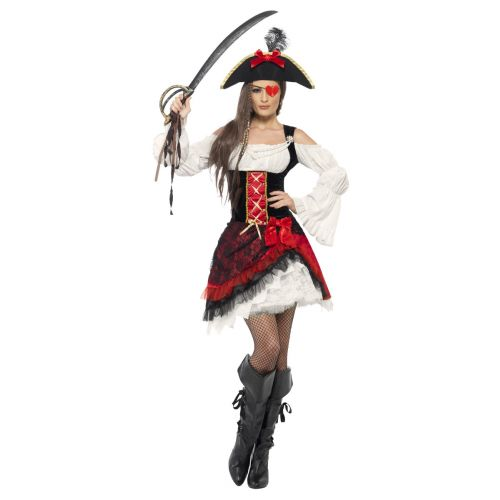 Glamorous Lady Pirate Costume, Red