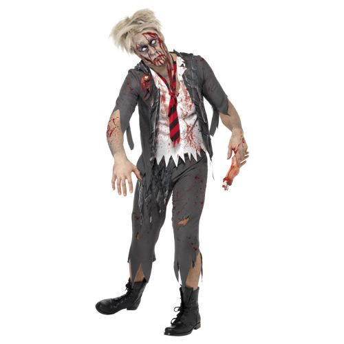 High School Horror Zombie Schoolboy Costume, Grey