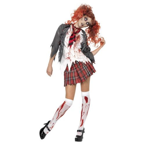 High School Horror Zombie Schoolgirl Costume, Grey